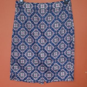 J. Crew pencil skirt navy blue print New